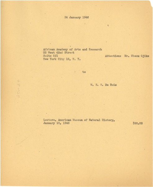 Invoice from W. E. B. Du Bois to African Academy of Arts and Research, January 24, 1946