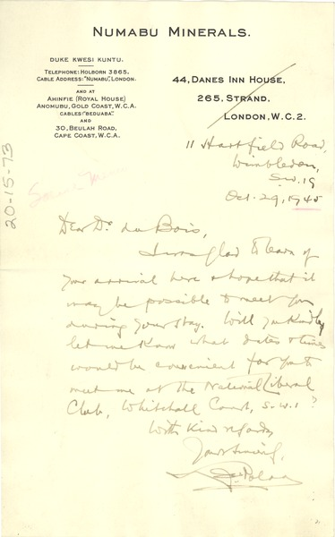 Letter from unidentified correspondent to W. E. B. Du Bois, October 29, 1945