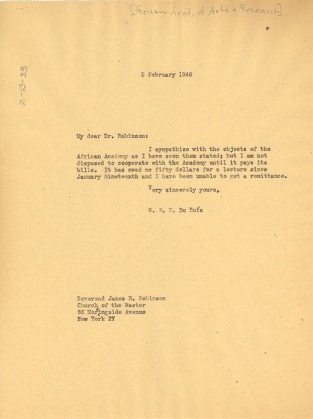 Letter from W. E. B. Du Bois to African Academy of Arts and Research, February 5, 1946