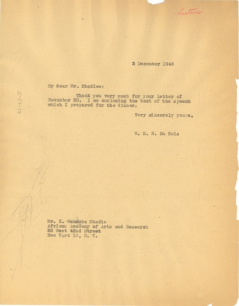 Letter from W. E. B. Du Bois to African Academy of Arts and Research, December 3, 1946