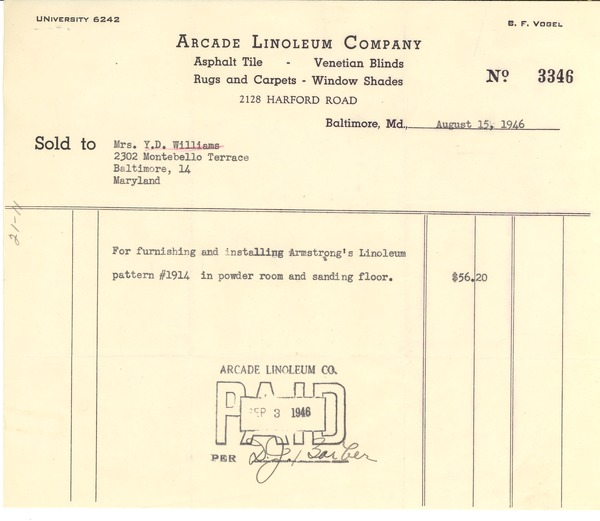 Invoice from Arcade Linoleum Company to Yolande Du Bois