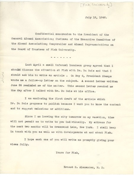 Memo from Ernest R. Alexander to Fisk University Alumni Association and Board of Trustees, July 12, 1946