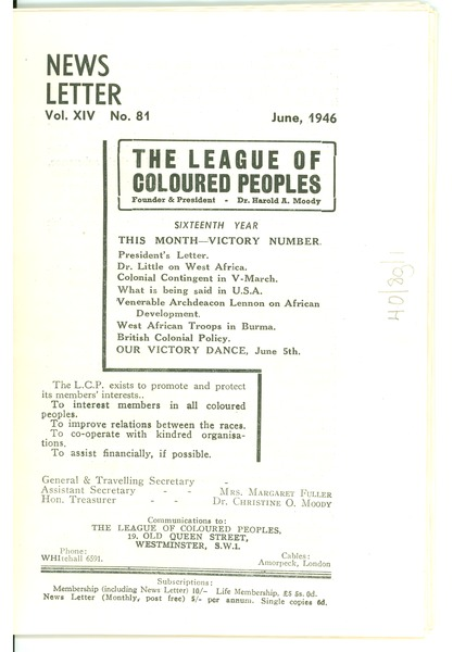 League of Coloured Peoples newsletter, June 1946