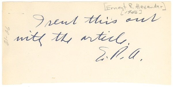 Note from Ernest R. Alexander to W. E. B. Du Bois, ca. 1946