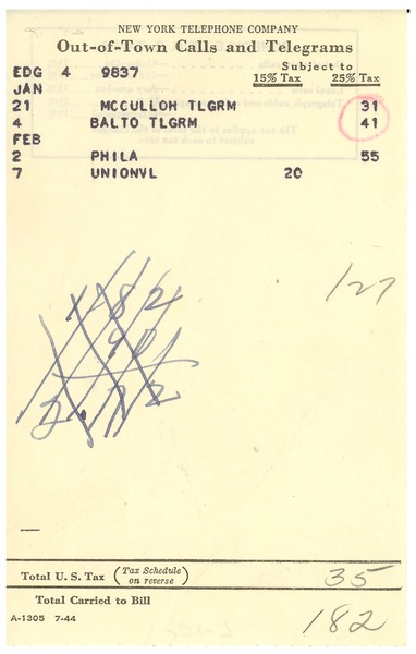 Invoice from New York Telephone Company to W. E. B. Du Bois, February 11, 1946