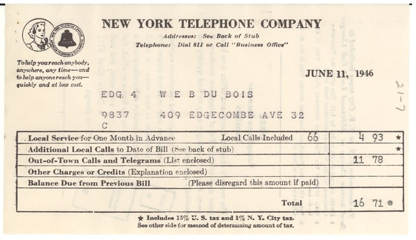 Invoice from New York Telephone Company to W. E. B. Du Bois, June 11, 1946