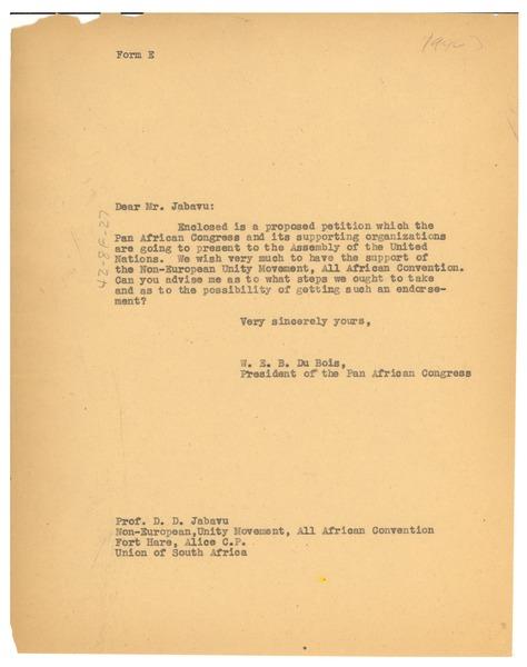 Letter from W  E  B  Du Bois to Non-European Unity Movement