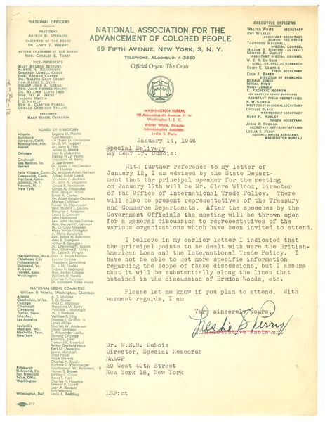 Letter from Leslie S. Perry to W. E. B. Du Bois, January 14, 1946