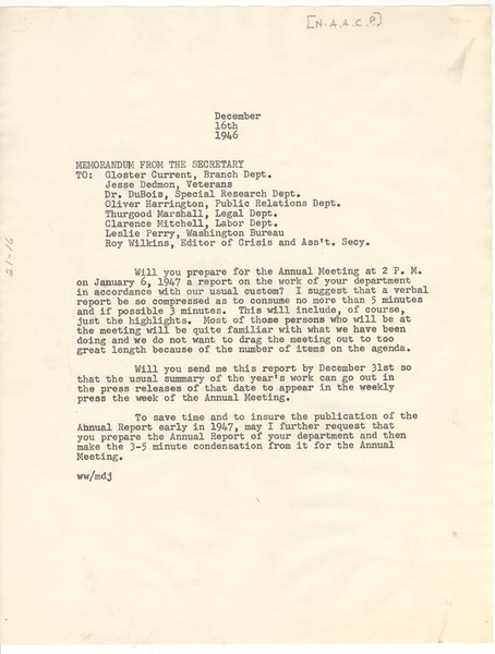 Memorandum from Walter White to Gloster Current, Jesse Dedmon, W. E. B. Du Bois,