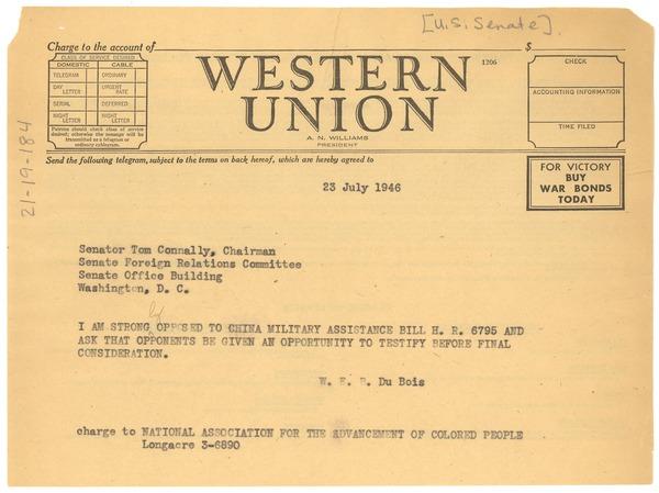 Telegram from W  E  B  Du Bois to United States Senate, July
