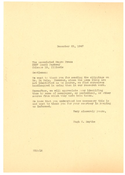 Letter from Hugh H. Smythe to Associated Negro Press, December 23, 1947