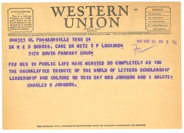 Telegram from Charles S. Johnson to W. E. B. Du Bois, March 24, 1947