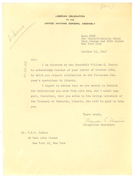 Letter from Liberian Delegation to the United Nations to W. E. B. Du Bois, October 13, 1947