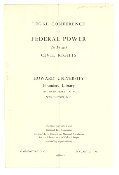 Civil Rights Conference program, January 25, 1947