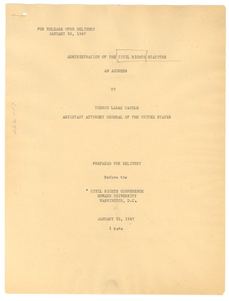 Administration of the Civil Rights Statutes, January 25, 1947