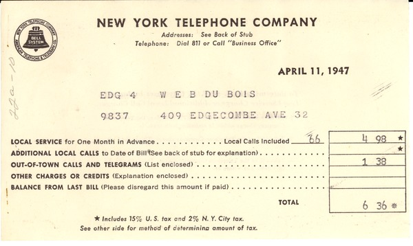 Invoice from New York Telephone Company to W. E. B. Du Bois, April 11, 1947
