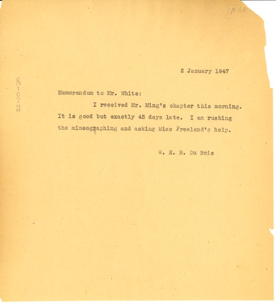 Memorandum from W. E. B. Du Bois to Walter White, January 2, 1947