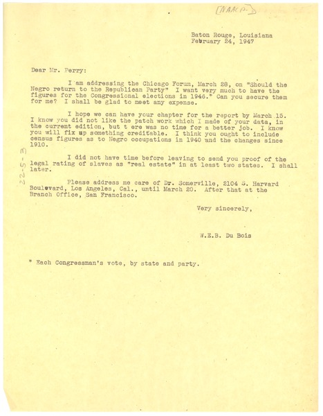 Letter from W. E. B. Du Bois to Leslie Perry, February 24, 1947