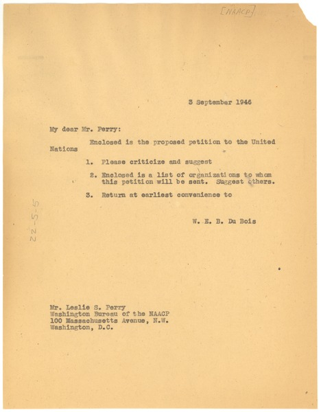 Letter from W. E. B. Du Bois to Leslie S. Perry, September 3, 1947