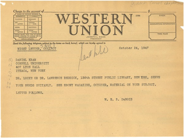 Telegram from W. E. B. Du Bois to NAACP Cornell Chapter, October 24, 1947