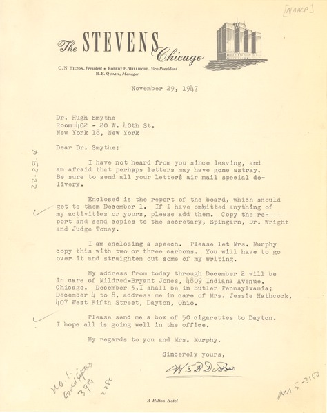 Letter from W. E. B. Du Bois to Hugh H. Smythe, November 26, 1947