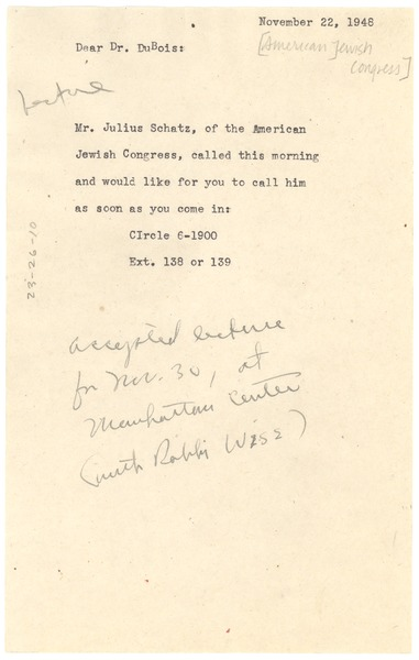 Note from NAACP staff to W. E. B. Du Bois, November 22, 1948