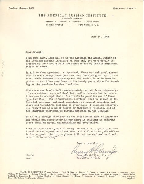 Circular letter from American Russian Institute to W. E. B. Du Bois, June 16, 1948