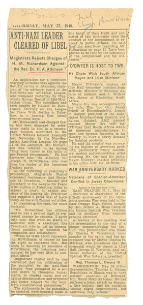 Anti-Nazi leader cleared of libel: Magistrate rejects charges of H. M. Richardson against the Rev. Dr. H. A.             Atkinson: , May 27, 1948