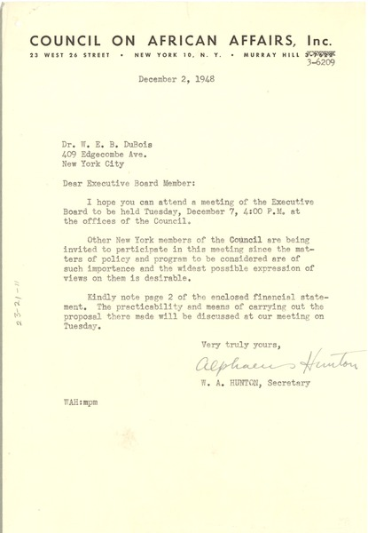 Circular letter from Council on African Affairs to W. E. B. Du Bois, December 2, 1948
