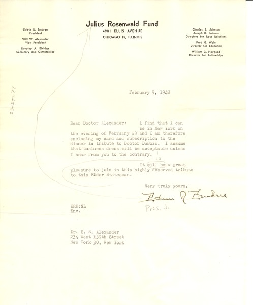 Letter from Edwin R. Embree to E. R. Alexander, February 9, 1948
