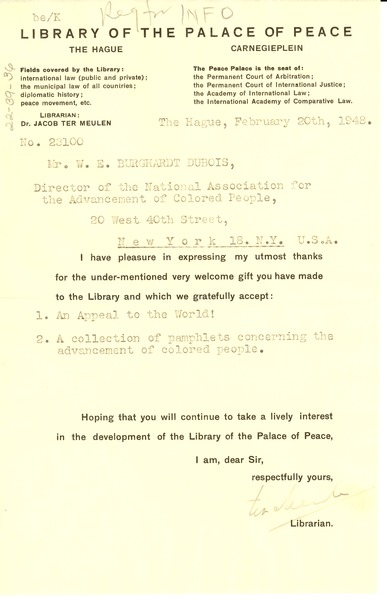Receipt from Library of the Palace of Peace to W. E. B. Du Bois, February 20, 1948