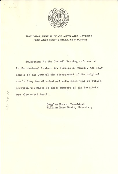 Circular letter from National Institute of Arts and Letters to W. E. B. Du Bois, ca. January 1948