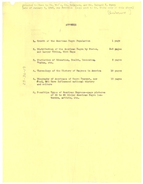 Appendix to 'Appeal to the World', ca. January 9, 1948