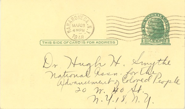 Postcard from NAACP Mamaroneck Branch to Hugh H. Smythe, March 28, 1948