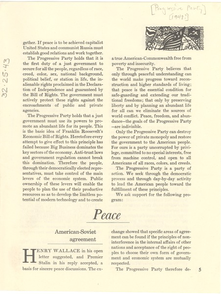 Progressive Party Pamphlet Fragment Ca 1948