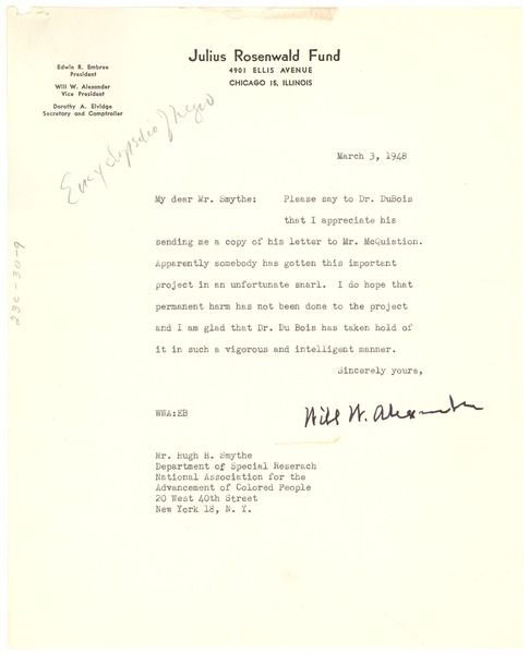 Letter from Julius Rosenwald Fund to Hugh H. Smythe, March 3, 1948