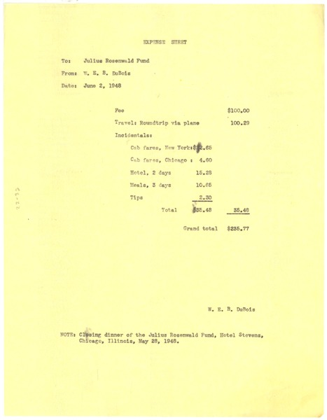 Invoice from W. E. B. Du Bois to Julius Rosenwald Fund, June 2, 1948