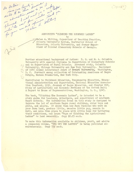 Note from Helen A. Whiting to W. E. B. Du Bois, 1948