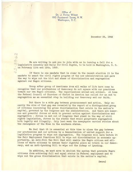 Circular letter from Legislative Assembly and Rally for Civil Rights Organizing Committee, December 24, 1948