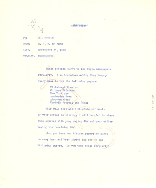 Memorandum from W. E. B. Du Bois to Council on African Affairs, September 30, 1949
