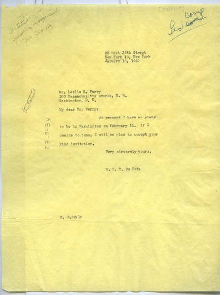 Letter from W. E. B. Du Bois to Mu-So-Lit Club, January 18, 1949