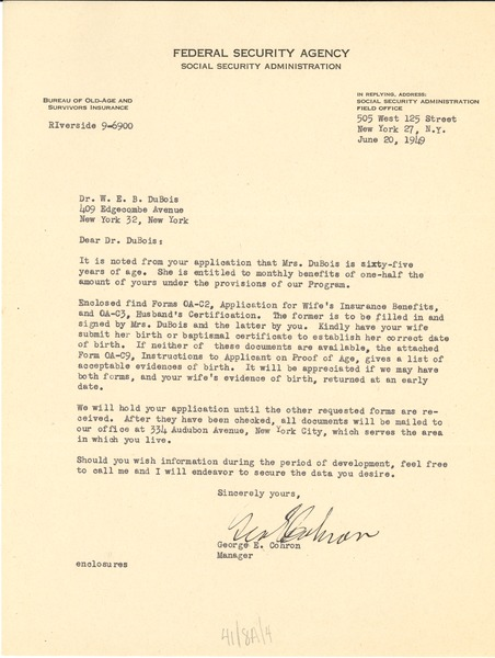 Letter from United States Federal Security Agency to W. E. B. Du Bois, June 20, 1949