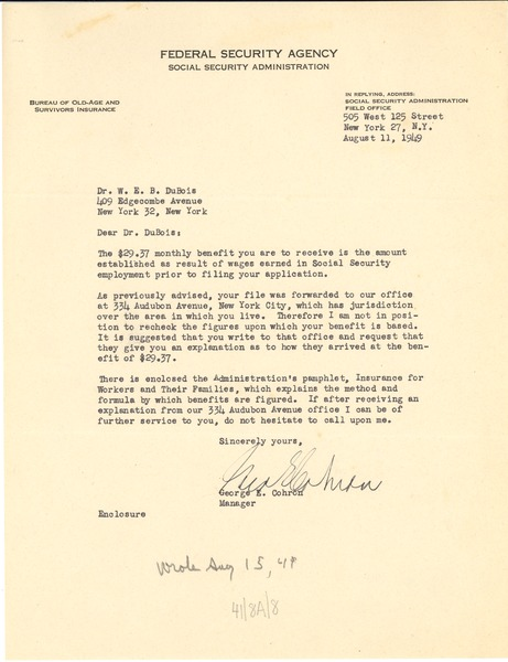Letter from united states federal security agency to w e b du letter from united states federal security agency to w e b du bois august 11 1949 thecheapjerseys Images