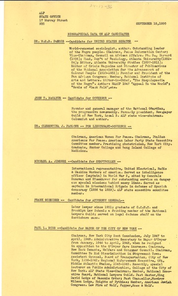 Biographical data on ALP candidates, September 15, 1950