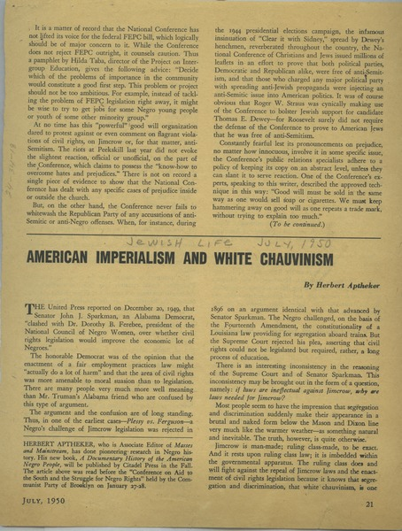 American Imperialism and White Chauvinism, July 1950