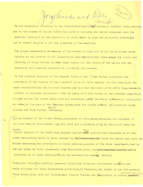 Essay in support of W. E. B. Du Bois, ca. June 1951