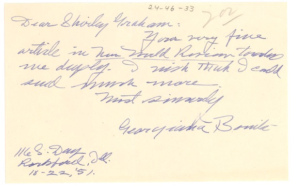 Letter from Georgiana Bolina to Shirley Graham, October 22, 1951