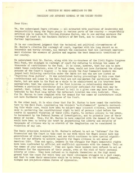 Petition by Negro Americans to the President and Attorney General of the United             States, 1951