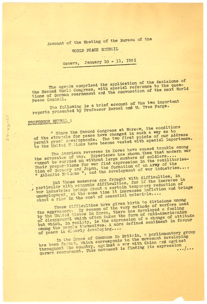 Account of the meeting of the bureau of the World Peace Council, January 11, 1951