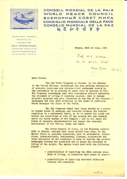 Circular letter from World Peace Council to W. E. B. Du Bois, June 23, 1951